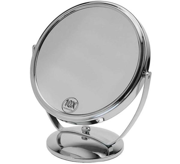 Standspiegel mit 10-fach Vergrößerung, Metall, 2 Spiegelflächen, Kosmetik-Spiegel