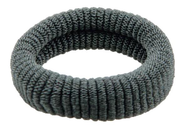 Haargummi Set, 6 Stck., breit, aus Frottee, Grau ohne Metall