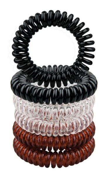 Haargummi Set, 6Stk., Telefonschnur-Haargummi, Spiral-Gummi aus Kunststoff, ohne Metall