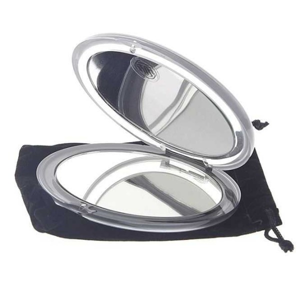 Klappspiegel, mit 10-fach Vergrößerung, Magnetverschluss oval Form 12x10cm, klares Acryl, mit Etui,