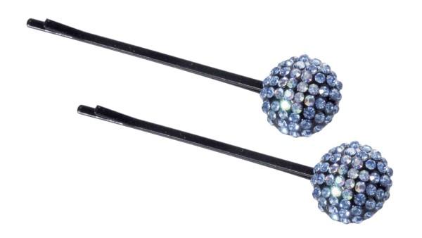 2 St. Haarschieber-Set mit blau Strasssteinen, Haarnadeln