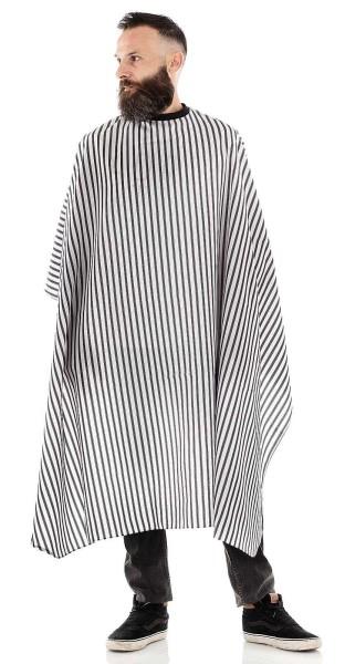 Männer-Haarschneideumhang -Wasserabweisende Polyester -Verstellbarer Verschluss mit 6 Knöpfen-Schwar