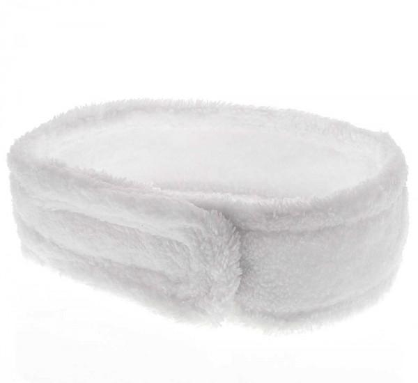 Kosmetik Mikrofaser Haarband, Kosmetex Stirnband weiß, Klettverschluss, Haarschutz bei Schminken, Sp