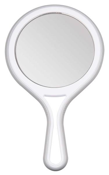 Kosmetex Handspiegel mit 5-fach und 2-fach Vergrößerung, 2 Spiegel-Flächen, Kosmetik-Spiegel 27cm Ø
