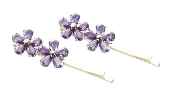 2 St. Blütenförmige Haarschieber-Set mit violett Zirkonen, Haarnadeln