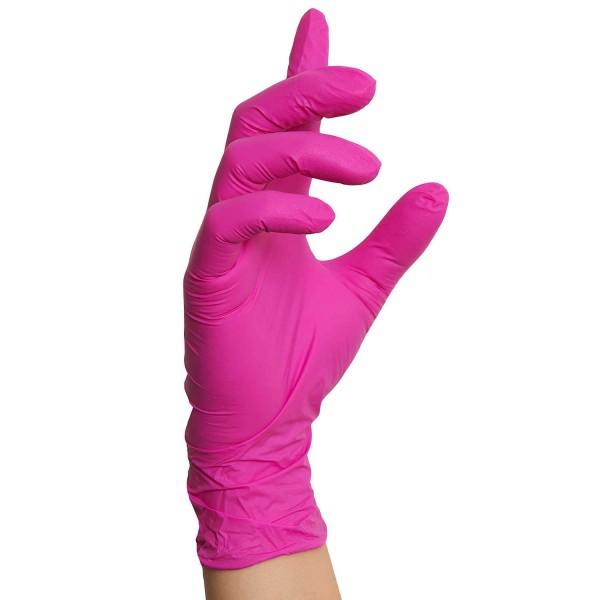 Nitrilhandschuhe Pink Magenta, Einmalhandschuhe, 100 Stück