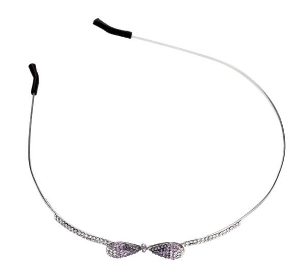 Haarreif mit rosa Strasssteinen, Schleife Design