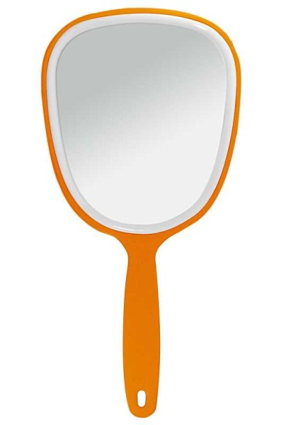 Handspiegel mit ovaler Form Kosmetik-Spiegel, normal 1-fach, Orange