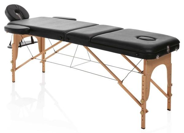 Klappbare mobile Kosmetikliege, Holz Confort schwarz, Tragkr. max. 226kg, transportabel mit Tragetas