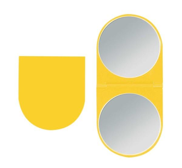 Klappbarer Doppel Taschen-Spiegel Kosmetex Reise Handspiegel mit 2-fach Vergrößerung in Gelb