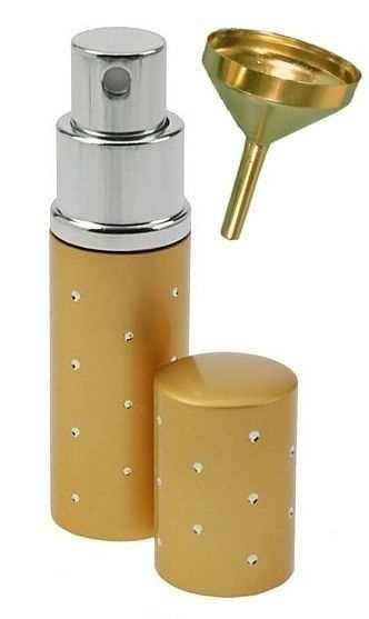 Zerstäuber, Gold Parfümzerstäuber, Taschenzerstäuber, Flakon für Unterwegs mit Trichter 10ml