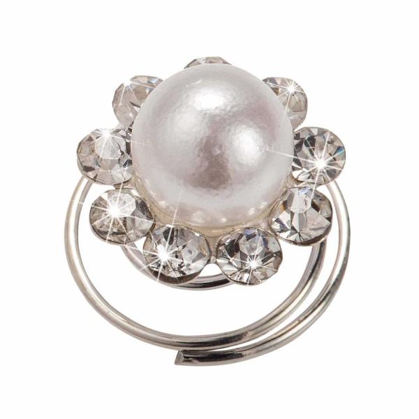 Curlie, Haarspirale mit Perlen und Strasssteinen im Kreis, Haar-Styling-Accessoires