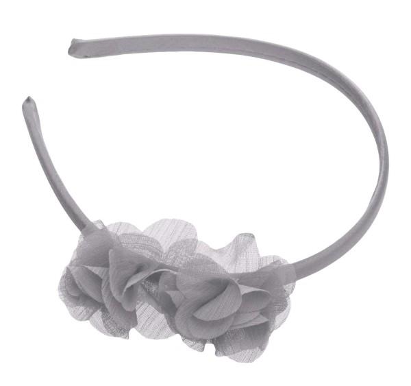 Haarreif mit zwei Stoff Blumen, grau