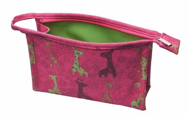 Kulturbeutel für Kinder, pink Tiermotiv, 21 x 15 Kinder Kosmetiktasche Kosmetex
