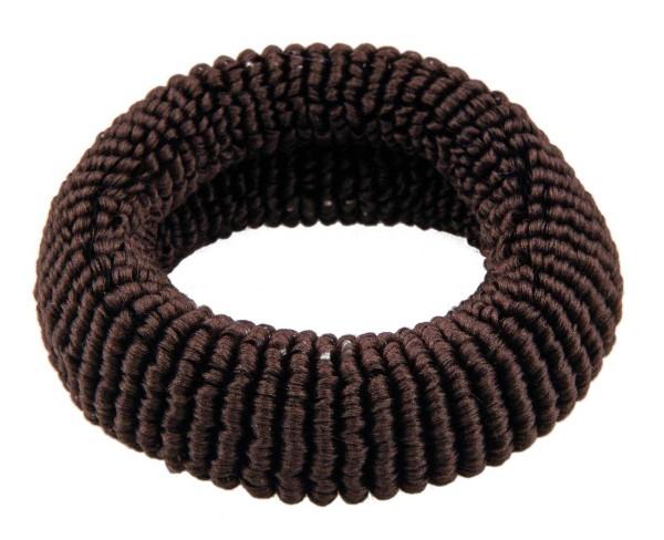 Haargummi Set, 4 Stck., breit, aus Frottee, Braun ohne Metall
