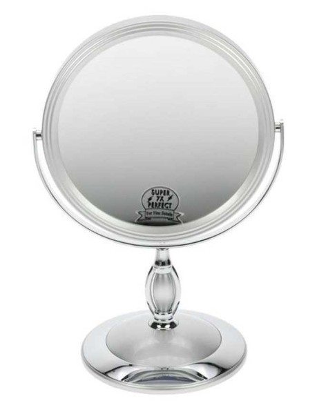 Doppelseitiger Kosmetik-Spiegel,Stell-Spiegel 7-fach Vergrößerung, Metall, 360° drehbar