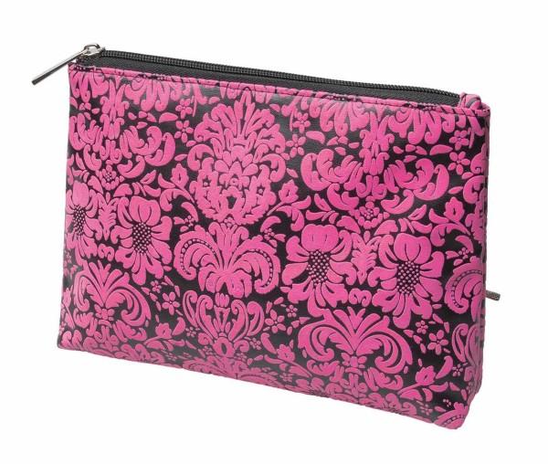 Schminktasche, schwarz-pink 24 x 17,5 cm Kosmetiktasche, Kosmetex Kulturtasche
