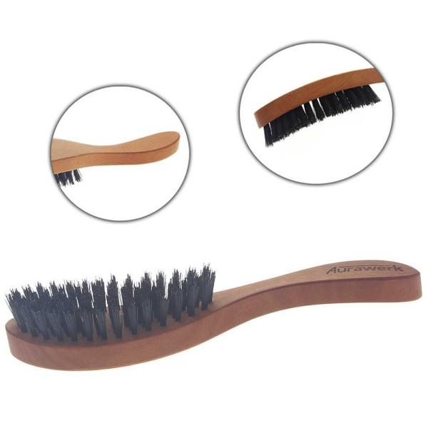 Langhaarbürste der Kopfform angepasst, Haar-Bürste Aurawerk für langes Haar, Birnbaum-Holz, Wildschw