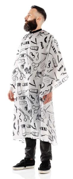 Männer-Haarschneideumhang -Wasserabweisende Polyester -Verstellbarer Verschluss mit 6 Knöpfen-Weiß/S