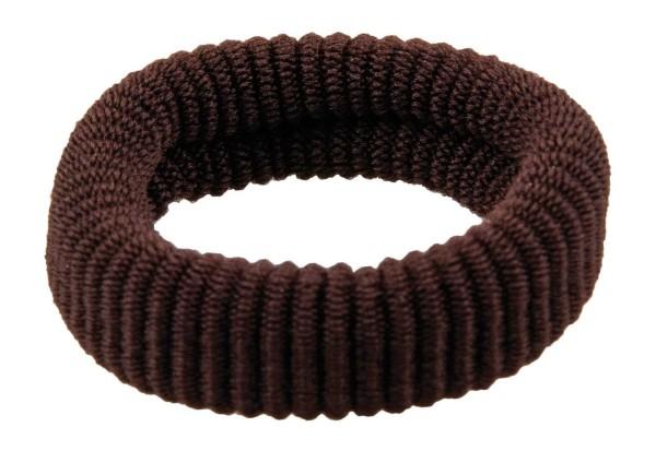 Haargummi Set, 6 Stck., breit, aus Frottee, Braun ohne Metall
