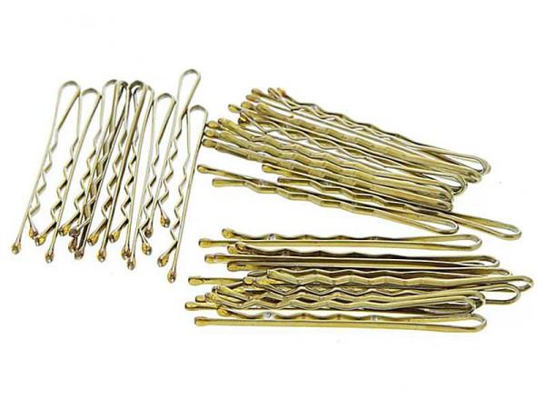 Haarklemmen, gewellt mit runden Ecken Haarklammern (mit Wellen) 5cm-Goldfarben