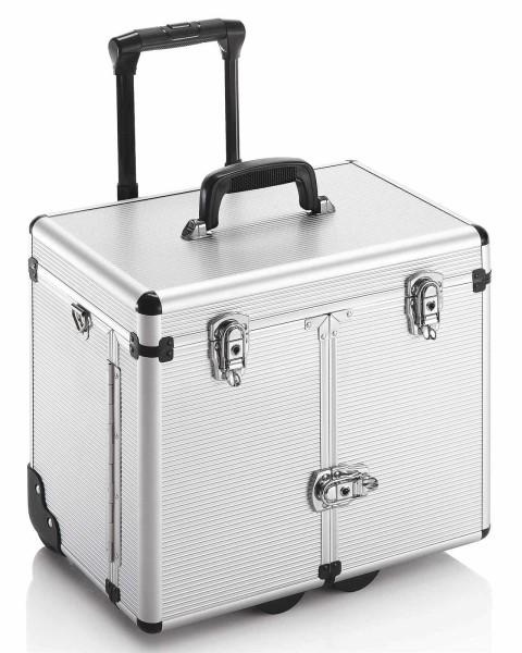 Hart-Friseurkoffer mit Flügeltüren, Friseurwerkzeug Trolley Koffer, Silver Line, silber