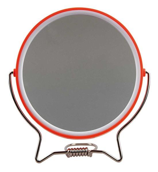 Rasierspiegel, Spiegel, 2-fach, zum Stellen oder Aufhängen, Kosmetik-Spiegel mit 2 Seiten in Orange