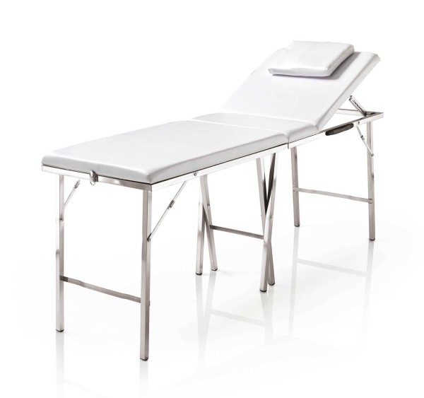 Mobile klappbare Kosmetikliege, silber Aluminium, Tragkr. max. 150kg, transportabel mit Tragetasche