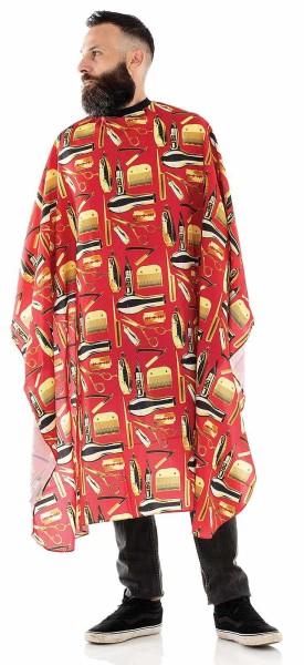 Männer-Haarschneideumhang -Wasserabweisende Polyester -Verstellbarer Verschluss mit 6 Knöpfen-Rot/Sc
