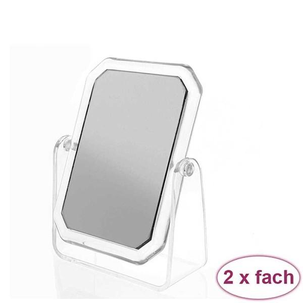 Acryl Standspiegel 15x11 cm, Kosmetex mit 2-fach Vergrößerung, Spiegel, Kosmetik-Spiegel mit 2 Seite