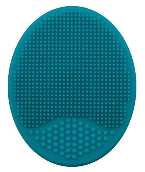 Make-up Pad, Peeling Pad, türkis, oval Mikrofeine Peeling-Härchen, Massagenoppen