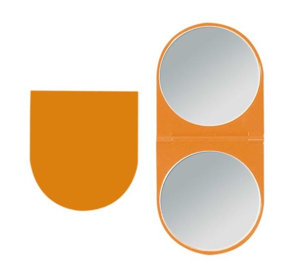 Klappbarer Doppel Taschen-Spiegel Kosmetex Reise Handspiegel mit 2-fach Vergrößerung in Orange