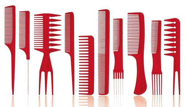 10er Kamm Set, rot, professioneller Haarstyling-Kämme