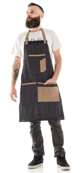 Barber Schürze Apron, Jeansstoff schwarz mit braunen Kunstledereinsätzen für Tools-Einstellbarer Sch