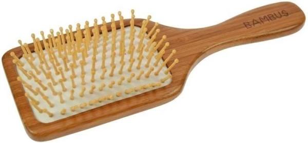 Haarbürste aus dunklem Bambusholz Paddelbürste mit pneumatischem Gummikissen