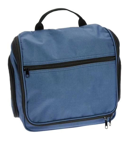 Kulturtasche Blau Hängetasche aus Nylon hat 6 Reißverschlußfächer in verschiedenen Größen
