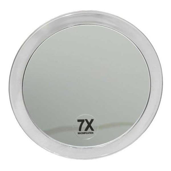 Runder Kosmetik-Spiegel Ø15cm mit 7 fach Vergrößerung und Saugnäpfen