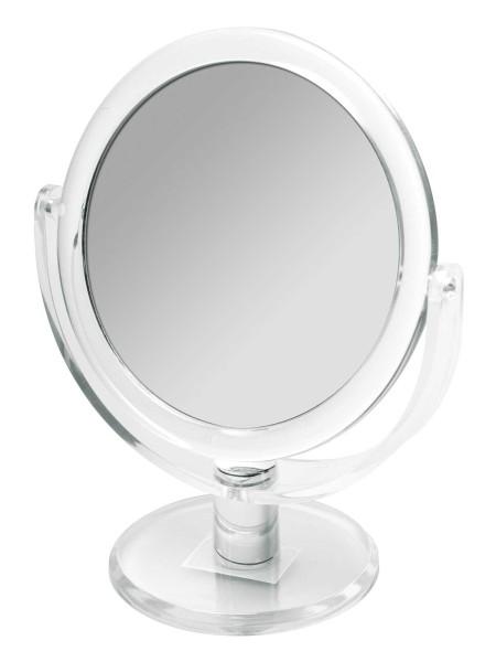 Doppelseitiger Kosmetex Acryl Kosmetik-Spiegel 20cm hoch, rund, Stand-Spiegel mit 2- fach Vergrößeru