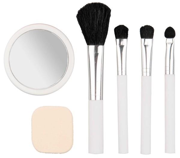 Titania Reiseset Kosmetikpinsel mit Schmink-Spiegel und Make up Schwämmchen für unterwegs