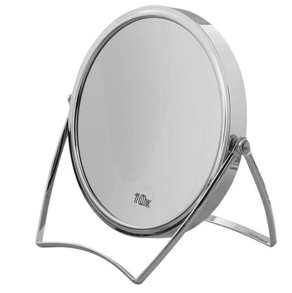 Spiegel 18 cm Standspiegel mit 10-fach Vergrößerung RS 1:1, Kosmetik-Spiegel Metall klappbar