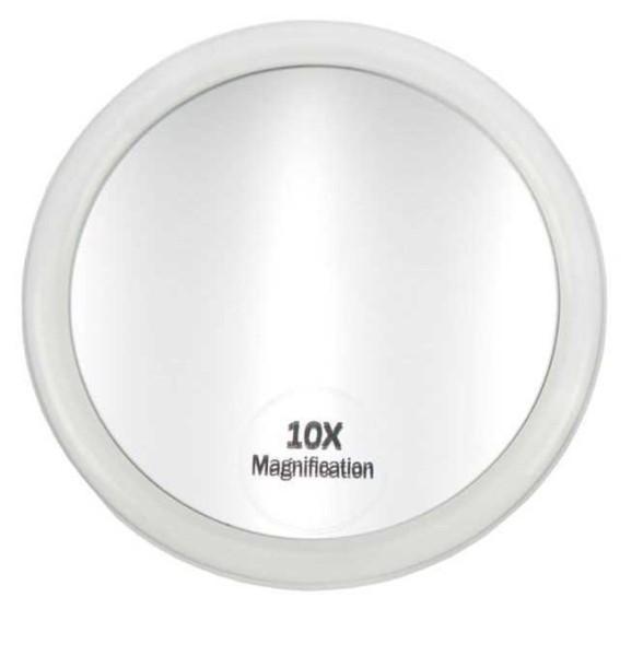 Taschen-Spiegel Zusatzspiegel mit 3 Saugnäpfen und 10-fach Vergrößerung. Ø 10 cm