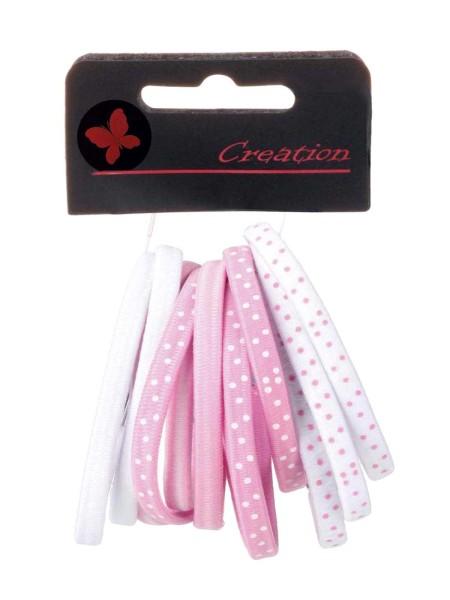 12er-Pack rosa Farb-Mix Haargummis mit Metallclip