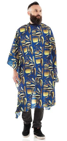 Männer-Haarschneideumhang -Wasserabweisende Polyester -Verstellbarer Verschluss mit 6 Knöpfen-Blau/G