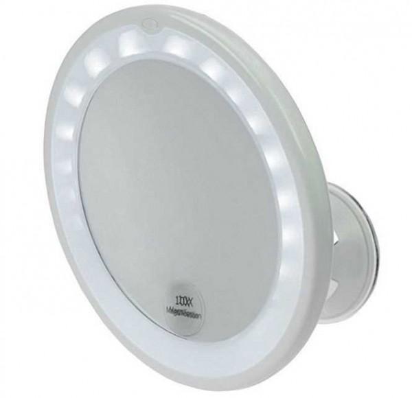 Spiegel, mit 10 fach Vergrößerung, LED Beleuchtung und Saugnapf. Ø 17,5 cm