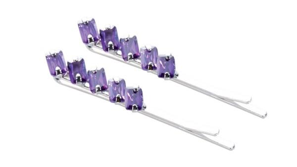 2 St. Haarschieber-Set mit violett Strasssteinen, Haarnadeln
