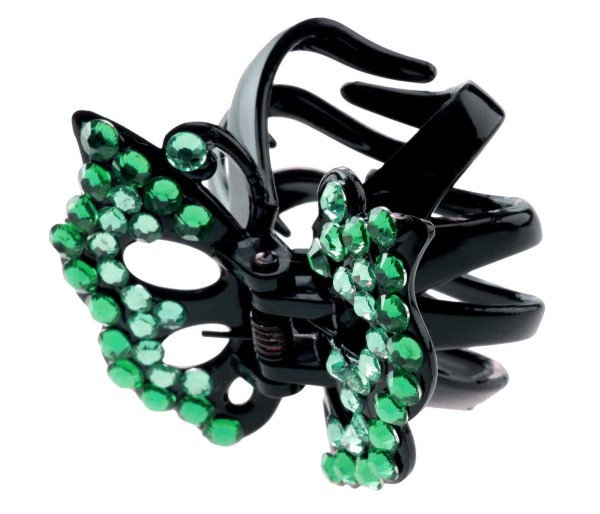 Haarklammer mit grünen Strasssteinen, Schmetterlingsdesign