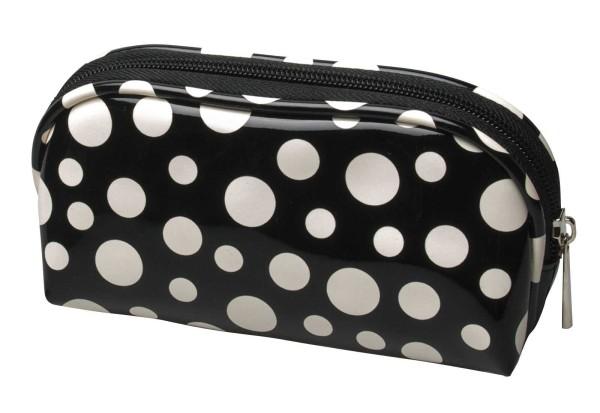 Schminktasche, schwarz mit punkten Lackoptik 16 x 11 cm Kulturtasche, Kosmetex Kosmetiktasche
