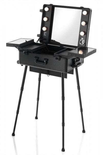 Mobiler Make-up Station Tisch, Spiegel mit 6 LED Leuchten, Trolley Koffer mit verstellbaren Füßen