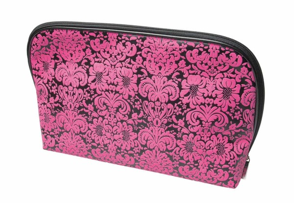Schminktasche, schwarz-pink 32 x 21 cm Kosmetiktasche, Kosmetex Kulturtasche