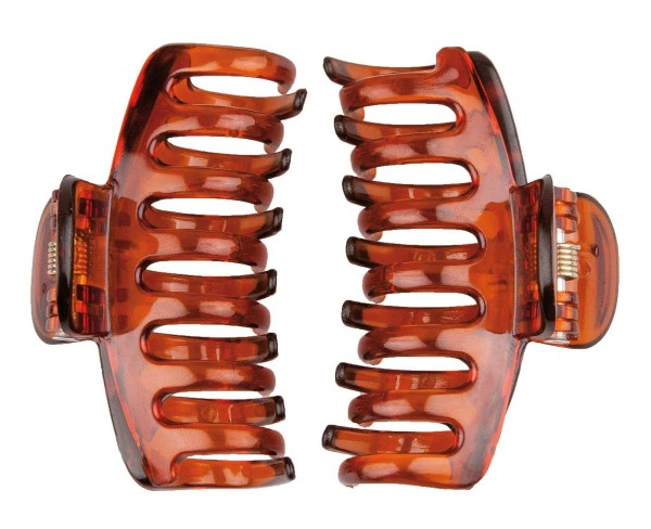 2x Haarklammer 6cm, Abteilklammern Greifspangen, Wellenreiter für langes Haar in Braun